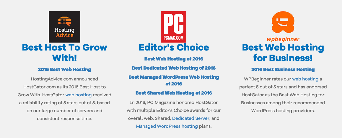 Web Hosting Awards for Hostgator